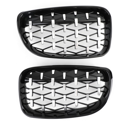 Black & Chrome Front Grille Fit For BMW E81 3-Door Facelift 08-12 E87 E82 E88 08-11
