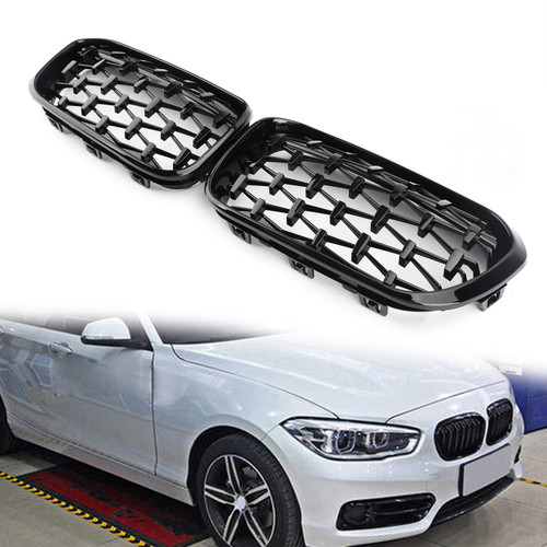 Meteor Black Front Kidney Grille Fit For BMW 1 Series F20/F21 15-17