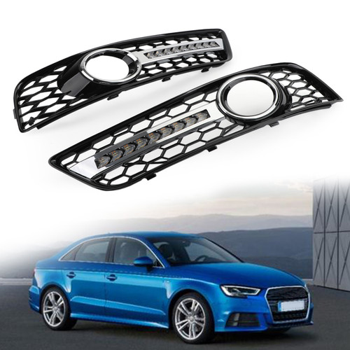 Pair Black Chrome Front Fog Light Grill Lamp Trim Fit For Audi A3 8P 08-13
