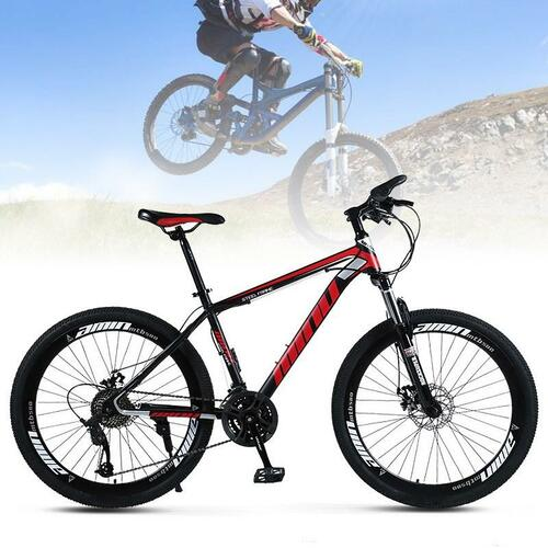 26 Inch Unisex Mountain Bike 21 Speed Mountain Bicycle Red+Black