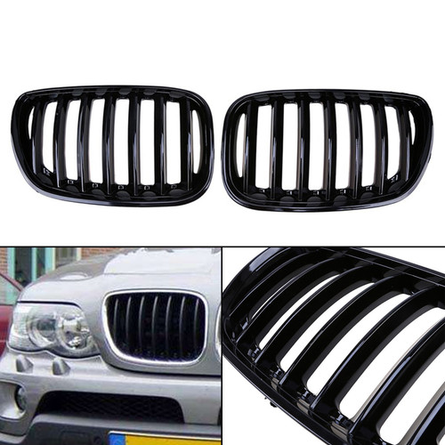 Front Kidney Grill Mesh Grille Fit BMW X5 E53 04-06 Gloss Black