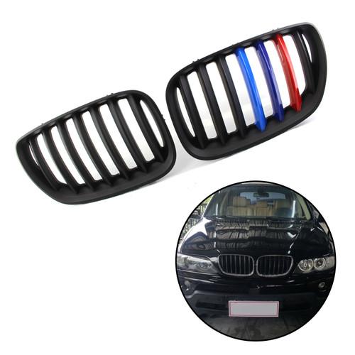 Front Kidney Grill Mesh Grille Fit BMW X5 E53 04-06 Matte Black