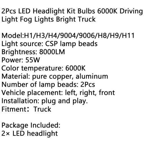 2Pcs H7 LED Headlight Kit Bulbs 6000K Driving Light Fog Lights Bright Car