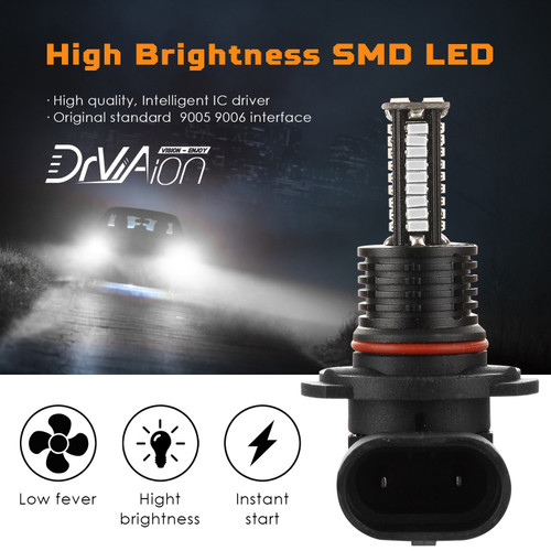2PCS 9005/HB3 LED Headlight Driving Light Fog Light Lamp 8000K Blue Bright