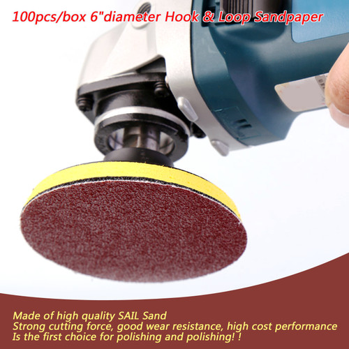 100PCS 6Inch DA Hook and Loop Sandpaper Sanding Discs Sand Sheet 320 Grit