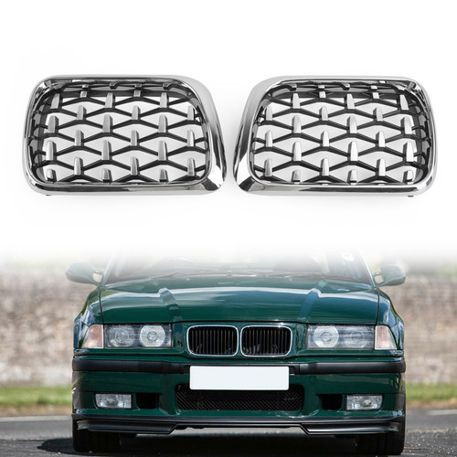 Meteor Chrome Front Kidney Grill Mesh Grille Fit For BMW E36 M3 1997-1999
