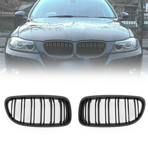 Front Kidney Grill Grilles Carbon Fiber Fit For BMW E90/E91 LCI 3 Series 2008-2012