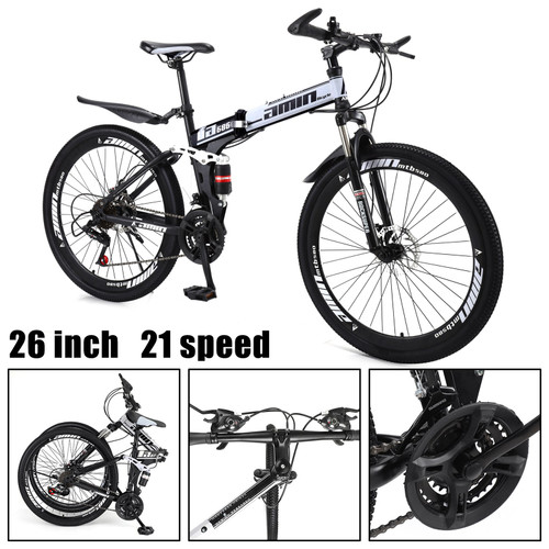 Adult 26 inch Folding Mountain Bike 21 Speed Bicycle Full suspension MTB White+Black