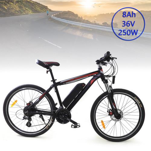 """Unisex 26"""" 24 Speed 250W 36V 7.5-8AH Electric Mountain Bicycle Bike MTB Ebike"""