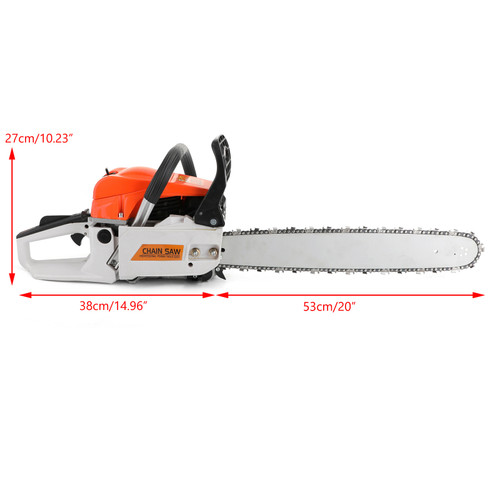 "20"" 52CC Gasoline Chainsaw Cutting Wood Gas Sawing Aluminum Crankcase Chain Saw"