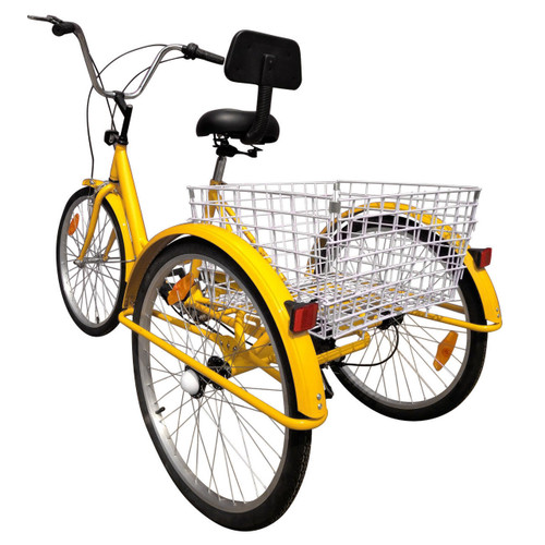 "AUS 24"" Tricycle Adult 3-Wheel Trike 7-Speed Bicycle with Basket Yellow"