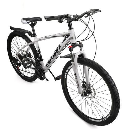 27.5 inches Wheels 21 Speed Unisex Adult Mountain Bike Bicycle MTB White+Black