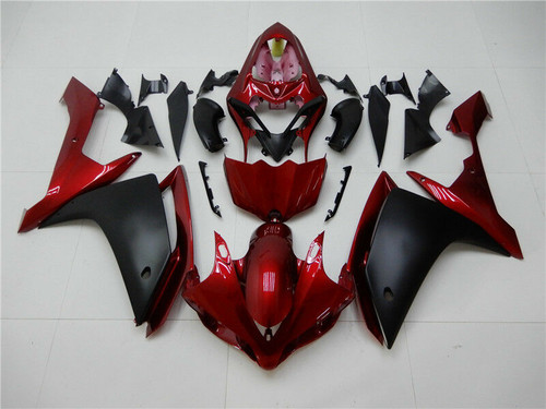 ABS Injection Plastic Kit Fairing Fit Yamaha YZF R1 2007-2008 Black Red