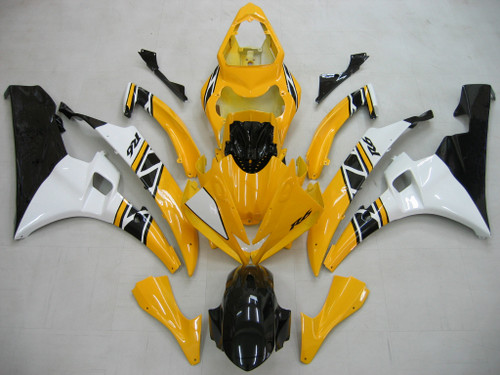 Fairing Yellow White Injection Plastic Kit Fit For YAMAHA YZF-R6 2006 2007
