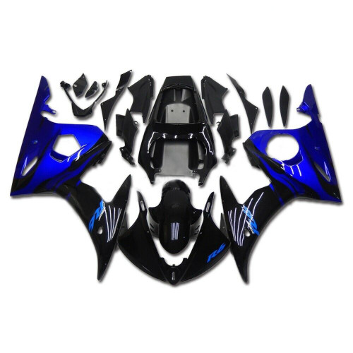 Fairing Blue Black Injection Plastic Kit Fit For YAMAHA 2003 2004 YZF R6