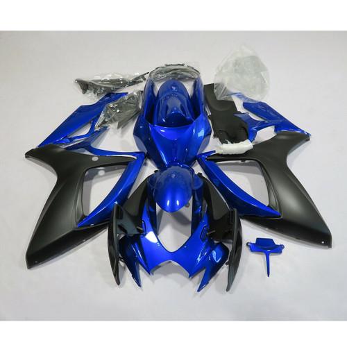Fairing Injection Plastic Kit Blue Black Fit For Suzuki GSXR600/750 2006-2007