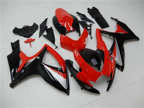 Fairing Injection Plastic Kit Red Black Fit For Suzuki GSXR600/750 2006-2007