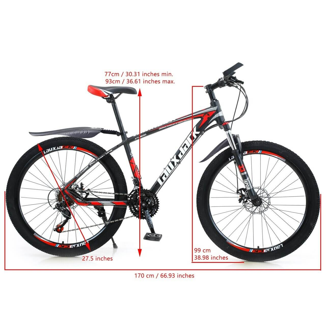 27.5 Inches Women's Mountain Bike 21 Speed Bicycle MTB Black+Red