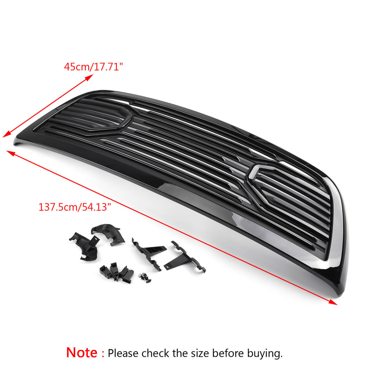 Big Horn Grille Replacement Shell For Ram 2500 3500 2010-2018 Gloss Black