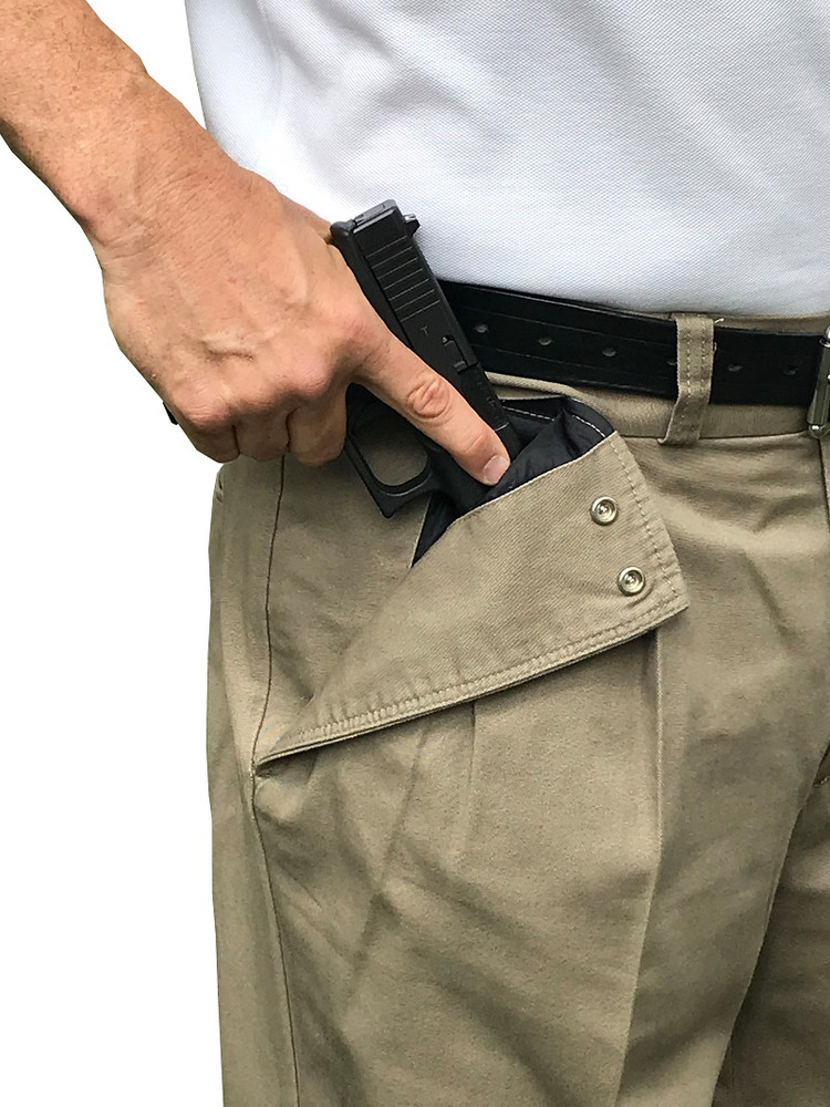 """CCW Breakaways Concealed Carry Tan Khaki with enlargeable """"breakaway"""" opening for fastest gun draw"""