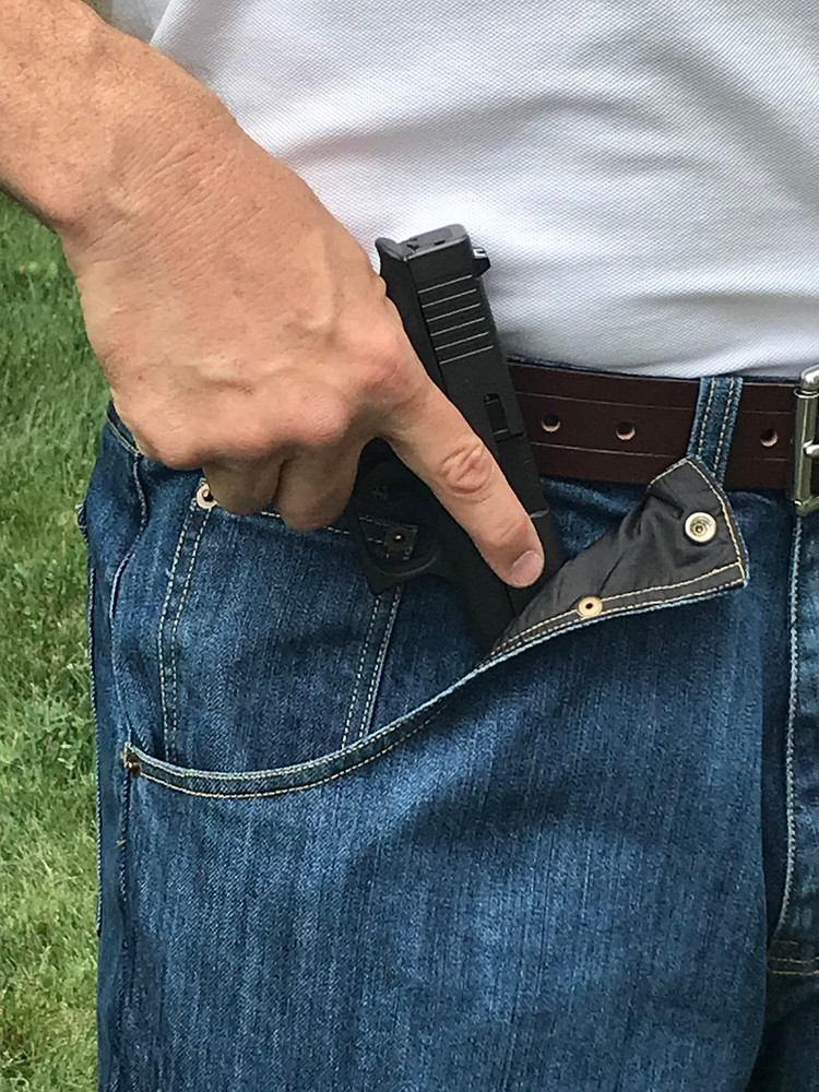 "CCW Breakaways Concealed Carry Jeans with enlargeable ""breakaway"" or ""break-open"" Built-In Holster-Pocket"