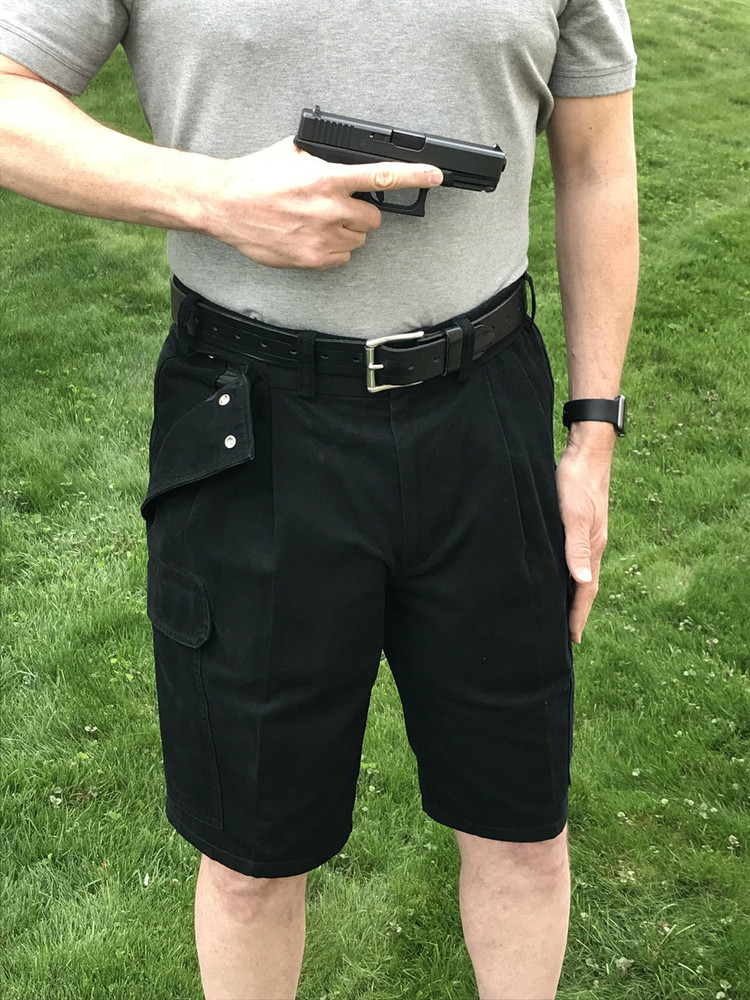 CCW Breakaways Black Cargo Shorts with firearm fully unholstered