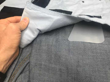 Anti-Print Shields easily slide into the built-in holster-pocket sleeve inside the CCW Breakaways Jeans. The Jeans are turned inside-out to show the simple installation.