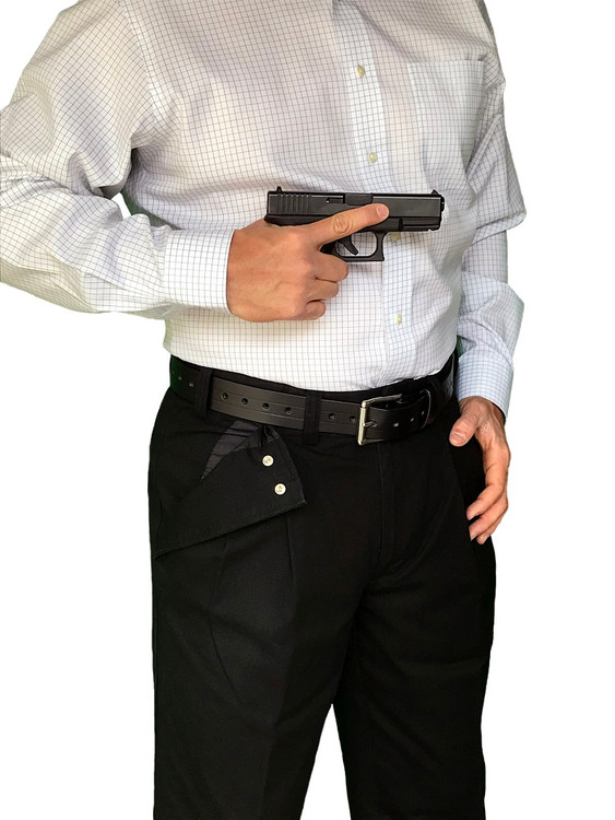"CCW Breakaways Concealed Carry Black Khaki with enlargeable ""breakaway"" opening; no monkey-trapped hand"