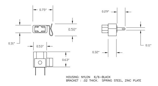 168, 194, 555, 906, 912 etc V-Bracket Clip-On Wedge Bulb Socket W2.1x9.5d base