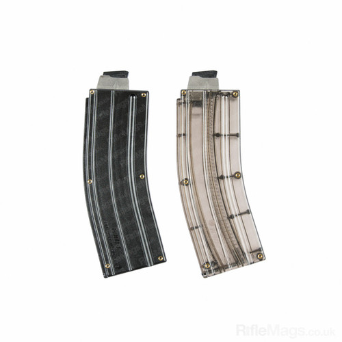 Black Dog 25 round X form steel lip .22LR magazine - smoke and black