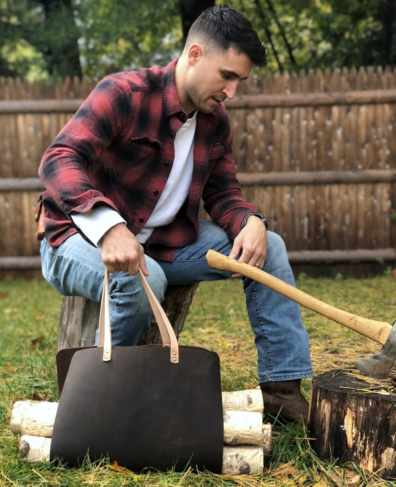Rugged firewood carrying bag, splits vegetable tanned leather, hammer riveted by American Bench Craft