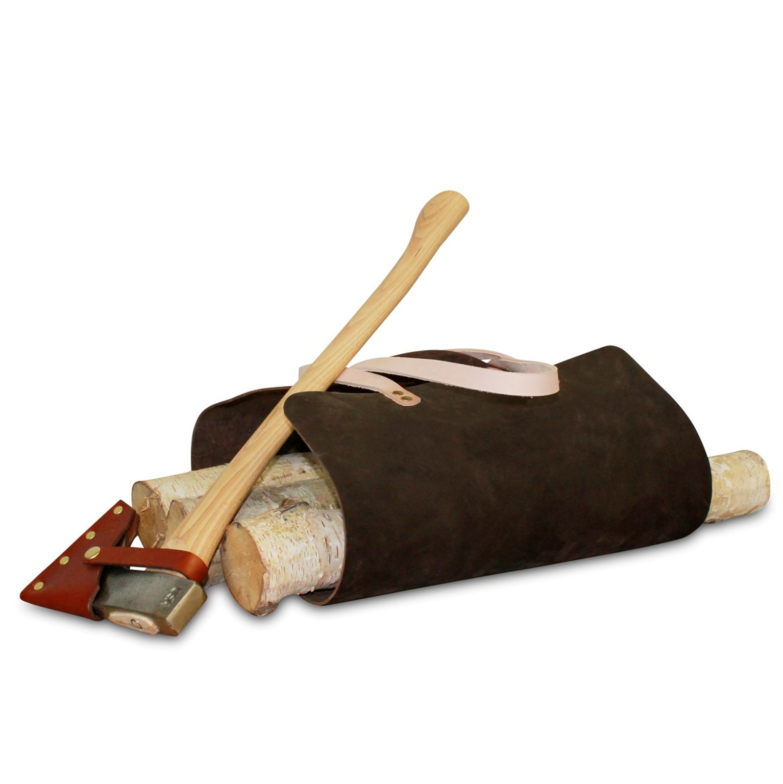 firewood carrying bag, leather bag, durable, rugged, hammer riveted, made in usa, American Bench Craft, gifts for men