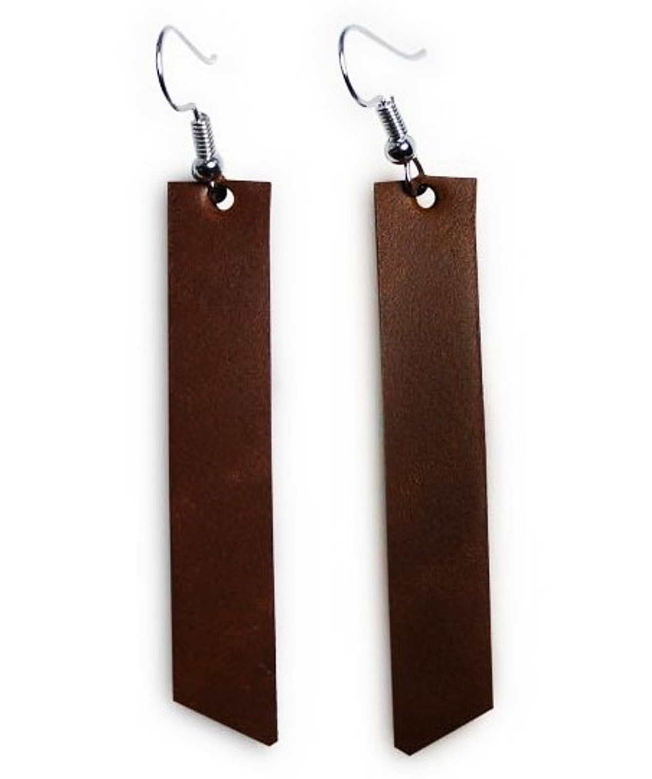 Chestnut leather bar earrings, premium leather, sterling silver, nickel free hardware, leather accessories, leather jewelry, gifts for women
