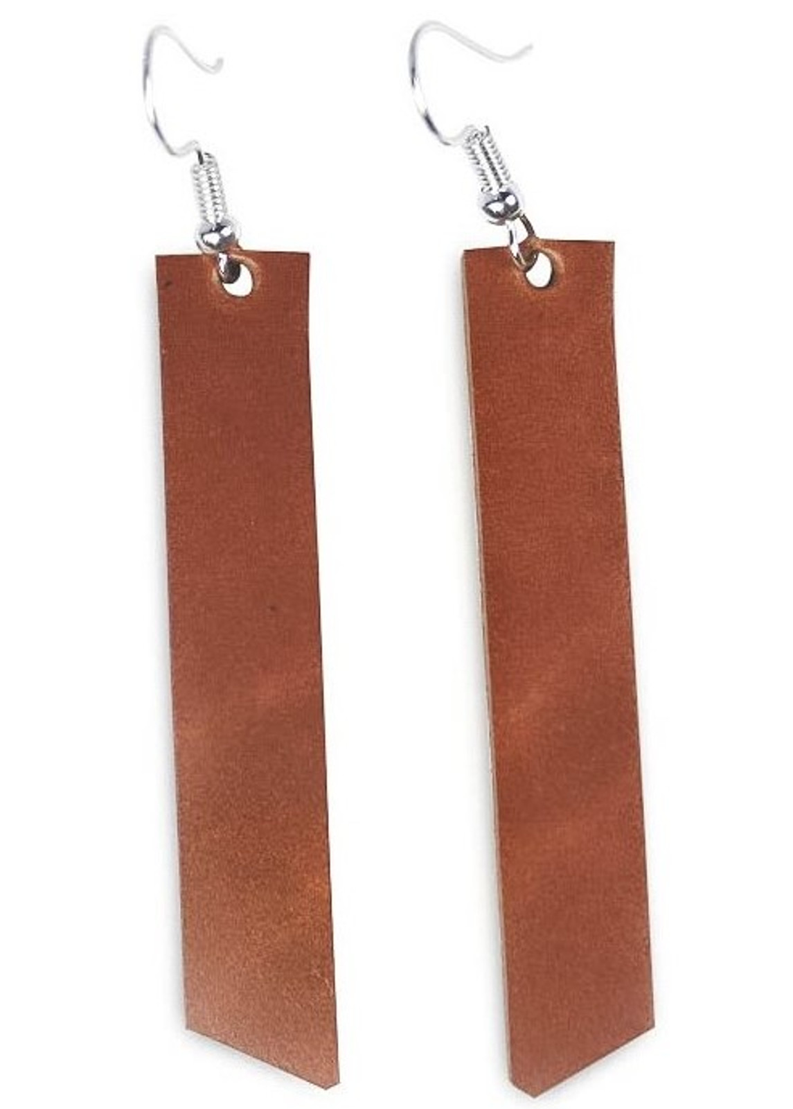 Burnt tan Leather Earrings, Leather jewelry, Leather accessories, boho style, boho jewelry, hippie style, hippie jewelry, handcrafted, made in usa