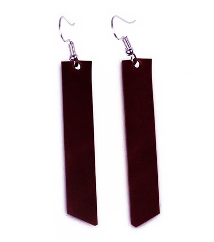 Maroon bar leather earrings, premium leather, merlot, leather jewelry, made in USA, gifts for women, gifts for her, holiday shopping, american bench craft, nickel free, teardrop leather earrings, bar earrings