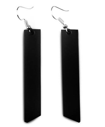 Black leather earrings, bar leather earrings, leather jewelry, leather accessories, goth, hippie style, boho style, sophisticated, made in usa, women's business