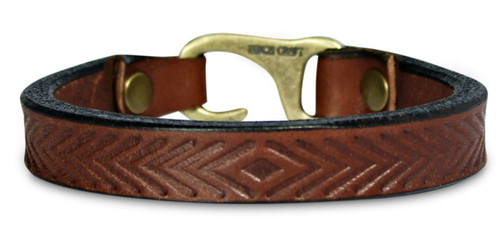 Heat embossed herringbone bracelet, hammer riveted with hook clasp, made in America by American Bench Craft, brown leather, antique brass