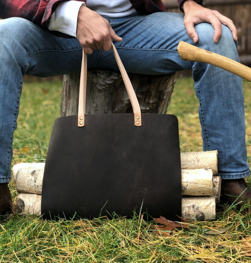 Durable firewood bag, hammer riveted handle, American made by American Bench Craft