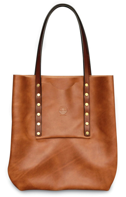 women's riveted tote, leather tote, full grain leather, quality leather, durable bag, gifts for women, leather bag, accessories, riveted tote