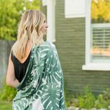 Adult swaddle blanket green Monstera