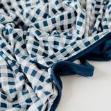 Adult swaddle blanket navy white Gingham
