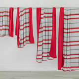 Child swaddle blanket red and gray striped Tahoe
