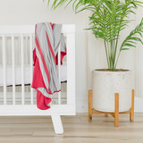 Baby swaddle blanket red and gray striped Tahoe