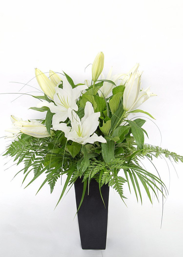 To convey your thoughts in times of sorrow, this elegant bouquet is beautifully presented in either a hand tied arrangement in our signature wrap or in a vox (a cardboard vase with plastic insert to allow the arrangement to be free standing & hold water).  Please note bouquet pictured does not come with the vase pictured.