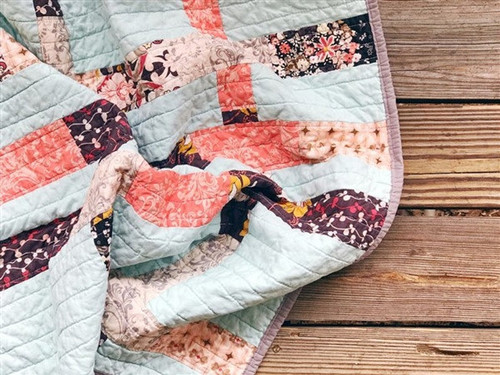 Modern Traditional Quilt - Plum and Coral String - READY TO SHIP