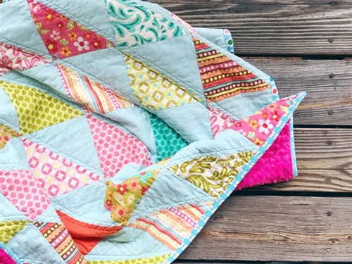 Modern Traditional Quilt -Southeast Triangles in  Sweet Nothings - READY TO SHIP