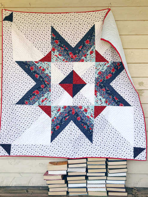 Modern Traditional Quilt - Carolina Mingle in Red and Blue - READY TO SHIP