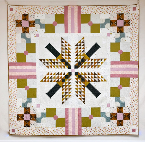 Modern Traditional Quilt - Para Para in pinks, greens and golds - READY TO SHIP