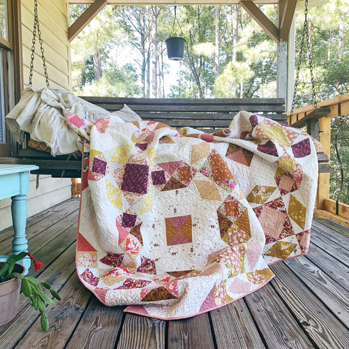 Moon Goddess Quilt - Cherry Wine and Gold fabrics - READY TO SHIP