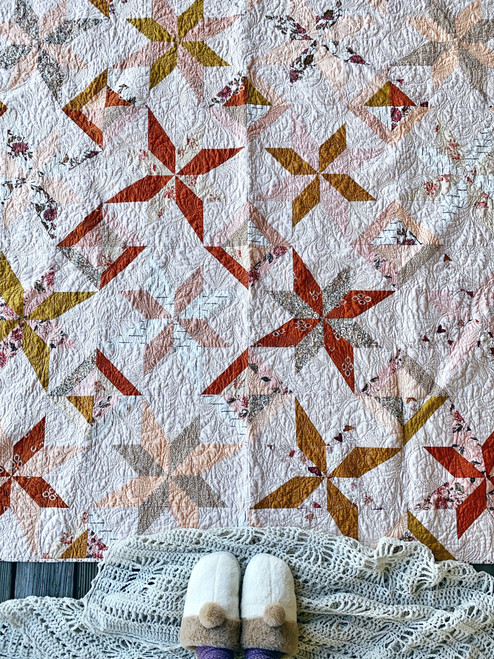 Modern Traditional Quilt - LaLa Fancy Quilt in Pumpkin Parchment - READY TO SHIP